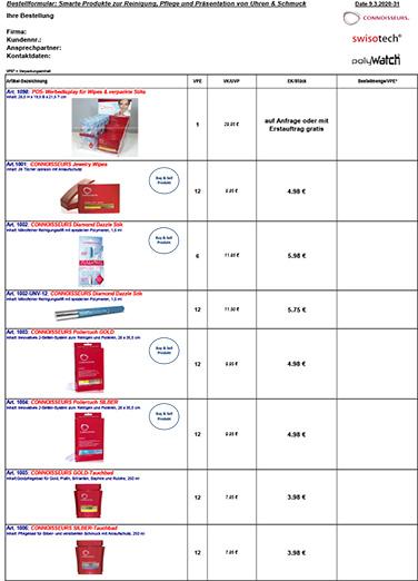 Bestellformular CONNOISSEURS SWISOTECH POLYWATCH